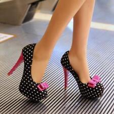 Womens Polka Dot Bowknot Pumps Platform Stiletto High High Heels Sweet Shoes sz