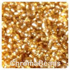 100g GOLD Silver-Lined vetro SEMI PERLINE-Scegli Taglia 6/0, 8/0, 11/0 (4, 3, 2mm)
