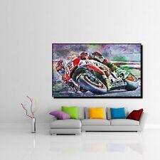 LEINWAND BILD ER XXL POP ART HONDA MOTOGP MOTORRAD ABSTRAKT POSTER 150x90