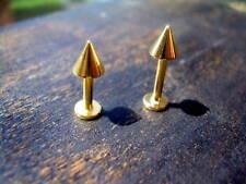"""1 PIECE 14K Gold Plated Labret Lip Monroe Ear Earring 14g 5/16"""" Spike"""