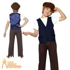 Child Victorian Poor Boy Oliver Twist Book Week Waistcoat & Hat Fancy Dress New