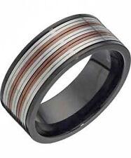 Men's Stainless Steel Black & Copper 9mm Spinner Wedding Ring Band - Hallmarked