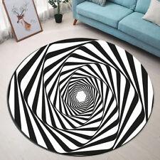 Round Carpet Living Room Area Rugs Abstract Black & White Swirl Floor Mat Yoga