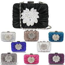 Womens Clutch Bag Prom Party Handbag Crystal Satin Diamante Bridal Clutch Bag