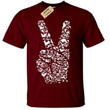 Peace Sign Fingers T-Shirt SCREENPRINTED mens S-5XL Love Harmony Nature Birds