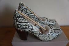 CLARKS Crumble Cream Natural Snake Women Court Shoe UK 4  7.5 RRP £80