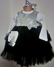 Silver Sequin Noir Fête anniversaire bal Pageant Bébé Filles Robe 6-18 M + chaussures