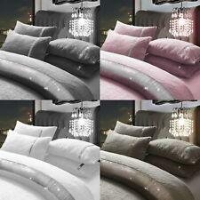 Diamante Lace Teddy Fleece Duvet Quilt Cover with Pillow cases Bedding Sets