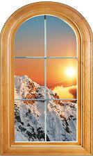 Sticker fenêtre bois trompe l'oeil déco Montagne réf 602 ( 4 dimensions)