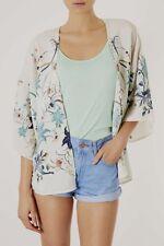 Topshop Ivory Cream Floral Bird Print Delicate Silky Kimono Jacket - Size 6 & 8