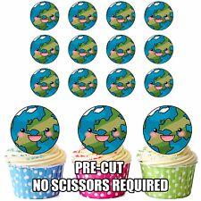 Precortado Planeta Tierra Toppers Comestibles Cupcake Decoración Tartas