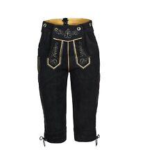 Damen Trachten Lederhose Kniebundhose m.Träger schwarz lang Gr.34 bis 50
