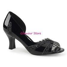 Sexy DECOLTE' spuntate tacco 7,5 NERO LUCIDO/GLITTER da 39 a 46 scarpe GLAMOUR