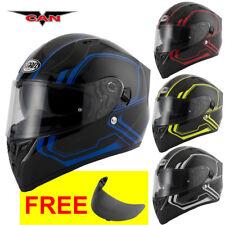 Vcan V128 Tracer Full Face DVS ACU Gold Motorbike Motorcycle Helmet & Vcan Visor