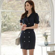 Élégant refined dress gown sheath dress short pinstriped dark buttons slim 3497