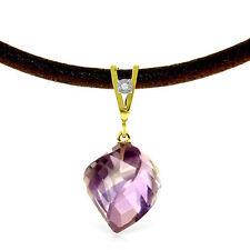Genuine Amethyst Gemstone & Diamond Pendant Leather Cord Necklace 14K Solid Gold