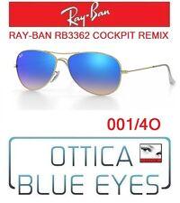 Occhiale da Sole RAYBAN RB3362 001/4O COCKPIT REMIX Sunglasses Ray Ban GOLD BLUE
