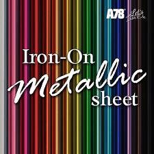 Metallic HTV Iron-on Foil Heat Transfer Vinyl sheet 20x25cm Craft Cricut Hotfix