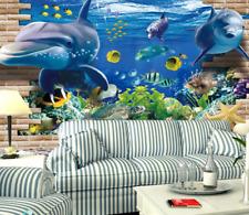 3D Blu Dolphin 57 Parete Murale Foto Carta da parati immagine sfondo muro stampa