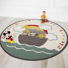 Fun Kids Circle Colourful Animals Boat Machine Washable Non Slip Childs Bedroom