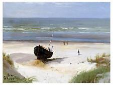 Seascape Beach Boat sea by B. Lindholm Tile Mural Kitchen Backsplash Ceramic