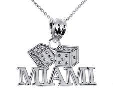 Fine 925 Sterling Silver MIAMI Dice Pendant Gamble Casino Gambling