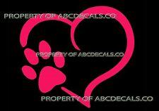 VRS Heart Outline Paw Dog Puppy Canine Adoption Print CAR DECAL VINYL STICKER
