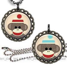 Sock Monkey Children's Bottle Cap Necklace & Chain Handcrafted Kids Jewelry
