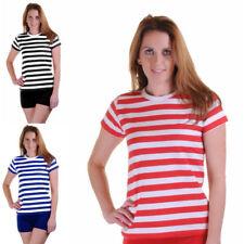 Ladies Women's Stripped Shirt Fancy Dress Stripe Short Sleeve Cotton T Shirts