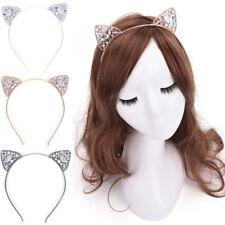 Fashion Frauen Silber Strass Kristallblumen Haarband elastisches Stirnba E5X0