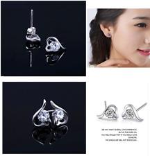 Rhodium over Silver Amethyst Crystal Angel Wing Heart Stud Earrings Gift Box I31