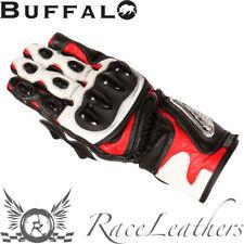 Buffalo BR30 Carreras Negro Rojo Piel COMPLETO Moto Guantes