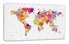 World Map  Abstract Wall Art -CANVAS Print ready to hang