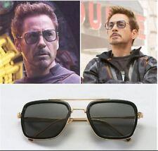 Tony Stark Sunglasses Men Square Metal Avengers Iron Man Sun Glasses Edith NEW