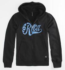 RVCA Mens Black Sherpa Zip Hoodie Sweatshirt Jacket NWT