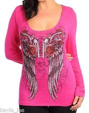Fuchsia Pink Winged Guns & Roses Rhinestone Hooded/Hoodie Plus Tee Top 1X
