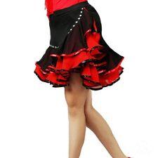 Women Latin Dance Skirt Ballroom Salsa Tango Rumba Dancewear Swing Ruffle