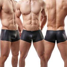 Men's Wet Look Boxer Shorts Trunk Brief Underwear Faux Leather Underpants