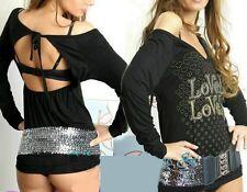 SeXy Miss Damen Lovely Shirt Rücken offen schwarz gold silber Print Top 34/36/38
