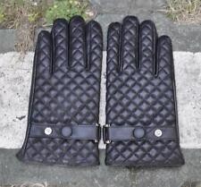 Men's Smart Touch Screen Genuine Sheep Leather Wrist Gloves Lattice Deco