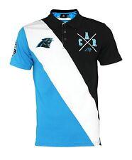 7114f4e08dc KLEW NFL Football Men s Carolina Panthers Rugby Diagonal Stripe Polo Shirt