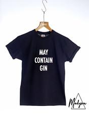 New MAY CONTAIN GIN T-shirt Slogan T-shirt Unisex Womens Mens S M L XL