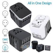 4 USB Universal Travel AC Power Charger Adapter Plug Converter TypeC AU UK US EU