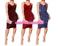 Women Elegant Spaghetti V-Neck Sequined Sexy Slim Bodycon Party Night Dress S