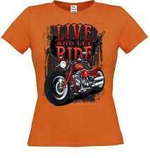 Frauen T Shirt in orange Chopper HD Biker Chopper& Old Schoolmotiv Modell Live A