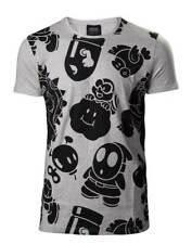 Nintendo Super Mario Unisex Gray Cotton T Shirt Nappy Allover Print