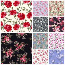 100/% Cotton Poplin Fabric Rose /& Hubble Sandy/'s Garden Floral Flowers Daisy
