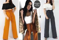 New Women Stripe Paper Bag Tie Bow High Waist Wide Leg Crepe Trousers Pants Blog