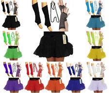 UV Neon 1980's Ladies 4Pcs Dancewear TuTu Skirt+Necklace+Gloves+Leg Warmer