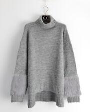 rabbit fur embellished Sleeves long tunic knitted jumper wool blend funnel neck